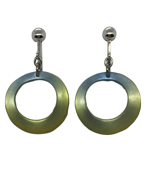 titanium earrings green ring 1