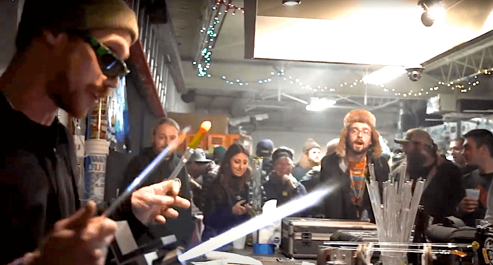 Sam Lyons blowing glass at Stoked CT event