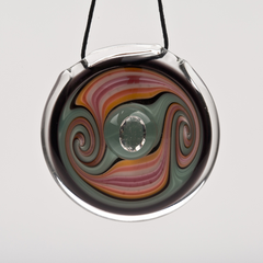 AJ Roberts Sacred Gem Pendant - Red, Orange. Black and Teal