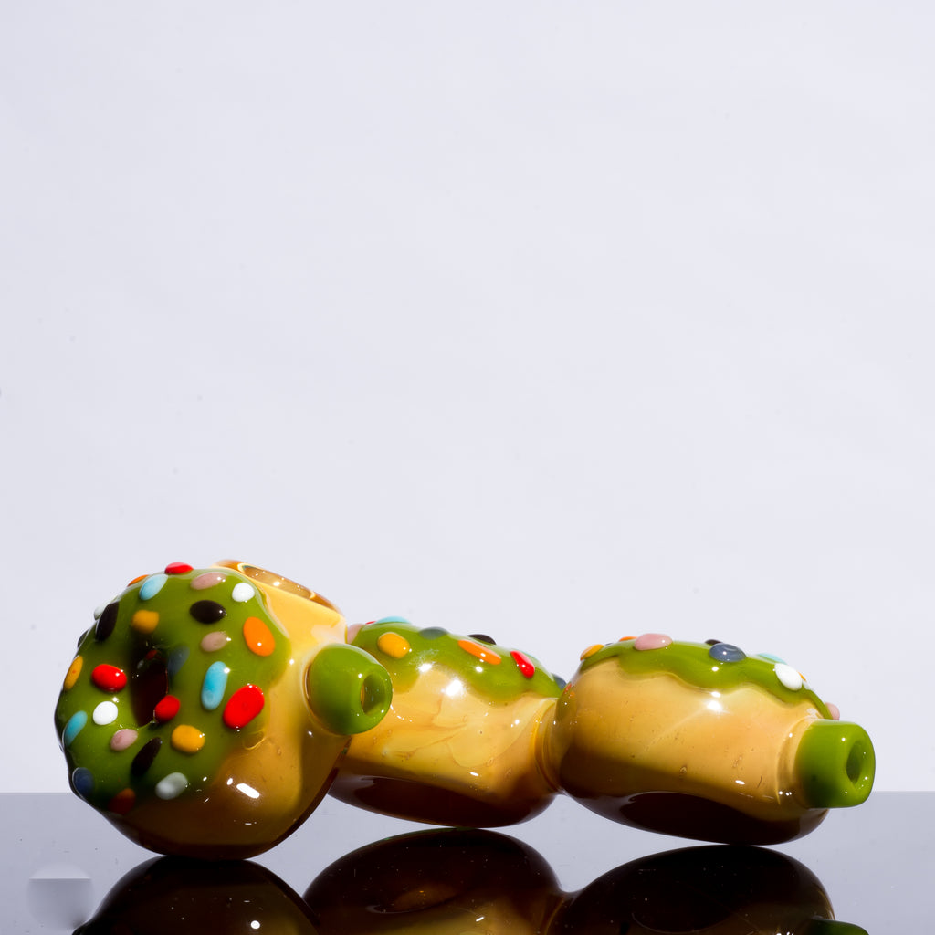 KGB Glass - Pistachio Frosted Sprinkles Donut Cluster