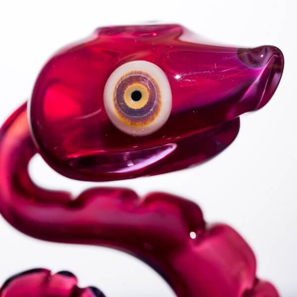 eye of snake product shot of glass nano snake by Niko Cray in phoenix