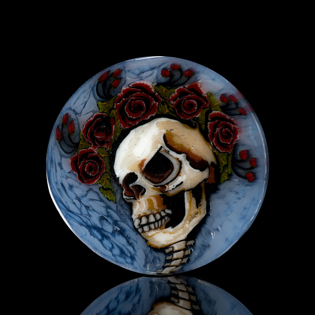"""American Beauty"" Stephen Boeheme Small Skull & Roses Coin"