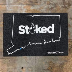 Stoked 12x18 inch mood mat, state of connecuticut outline with stoked logo centered. Stoked URL bottom right.