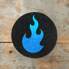 Stoked 5 inch coaster mood mat, black circular mat with blue flame logo