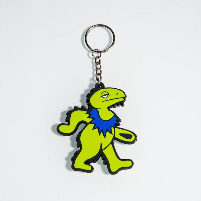 product shot of green dancing dinosaur keychain made by elbo