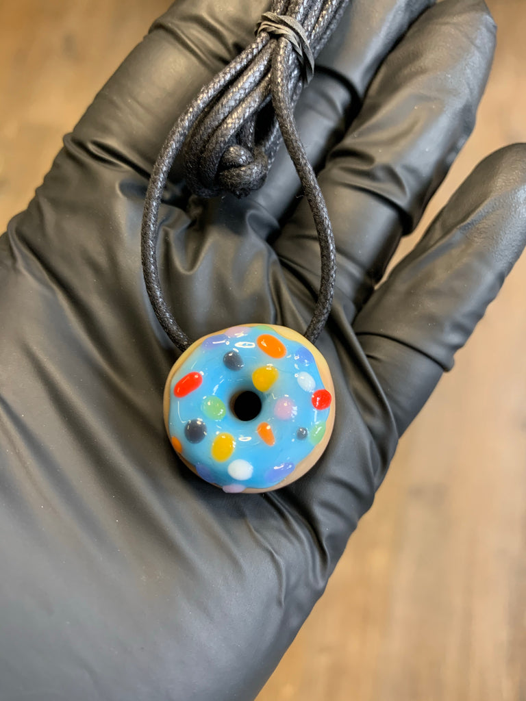 KGB Glass - Blue Raspberry Frosted Sprinkles Micro Donut Pendy