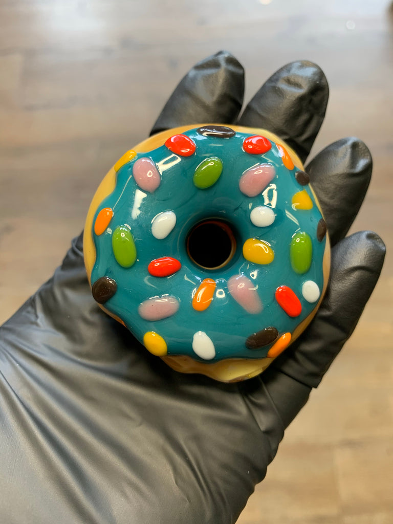 KGB Glass - Blue Raspberry Frosted Sprinkles Mini Donut Pipe