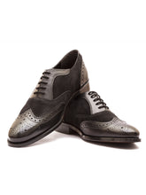 Load image into Gallery viewer, The Sartorial Dual Textured Black Semi Brogue