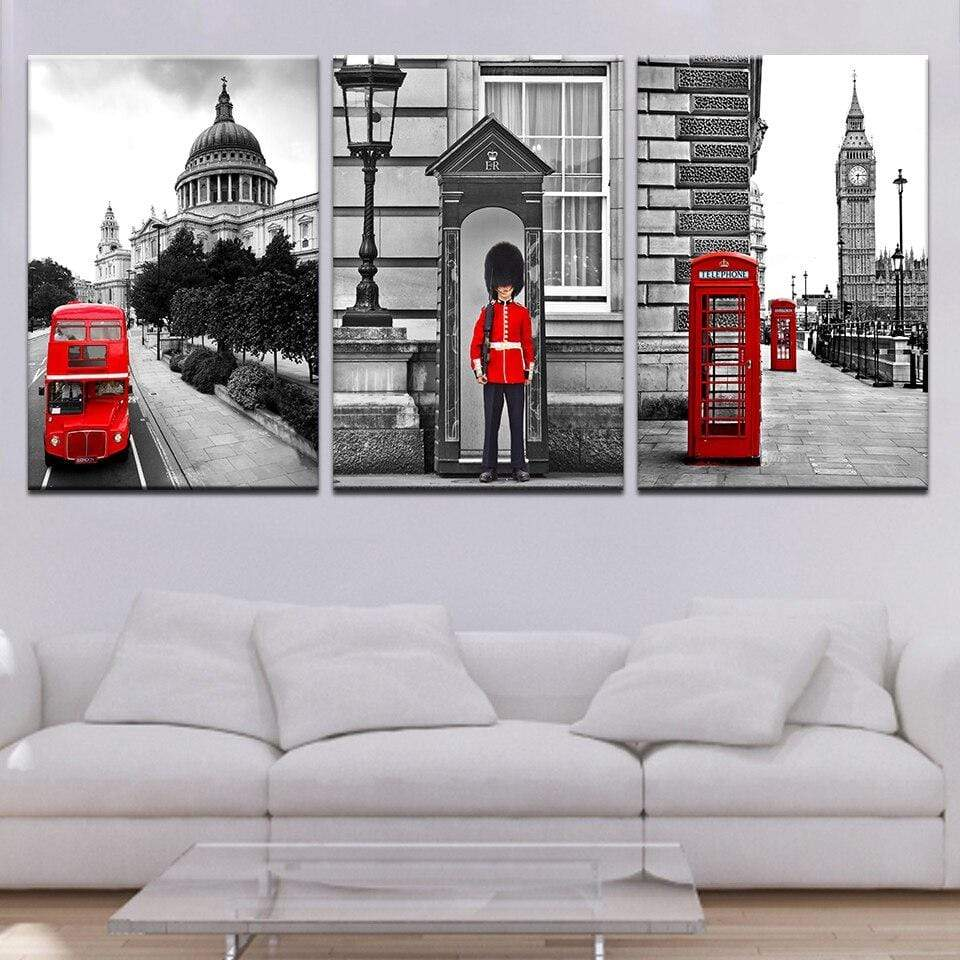 Abstracte Londen in Canvasdoek 3 Delen Korting
