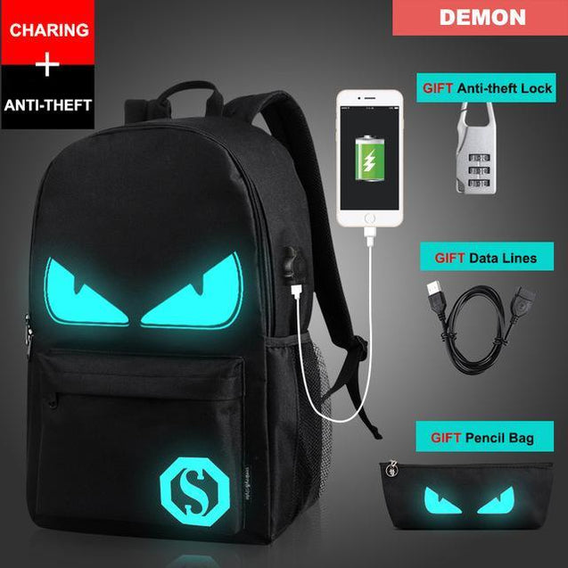 Glow in the Dark Backpack Rugtas met USB Aansluiting Demon Korting