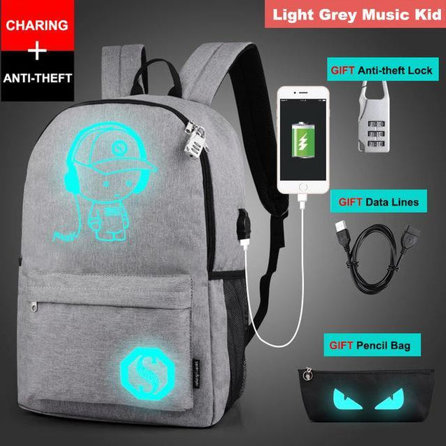 Glow in the Dark Backpack Rugtas met USB Aansluiting Grijze Music Kid Korting