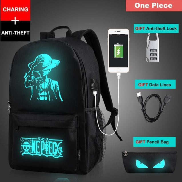 Glow in the Dark Backpack Rugtas met USB Aansluiting One Piece Korting