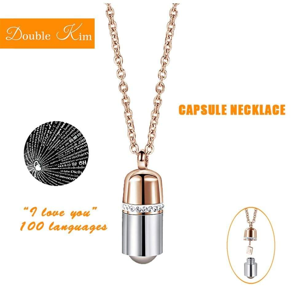 I Love You ketting in 100 Talen - I love You Capsule Bedelketting Rose Goud / 42cm Korting