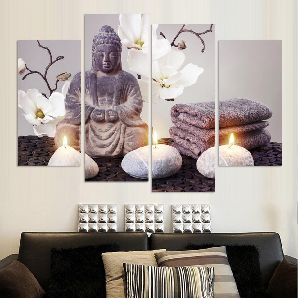 Limited Edition Buddha Canvasdoek - 4 Delen - Indigo Markt