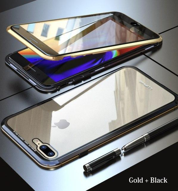 magnetisch anti shock flip case van gehard glas iphone 7. Black Bedroom Furniture Sets. Home Design Ideas