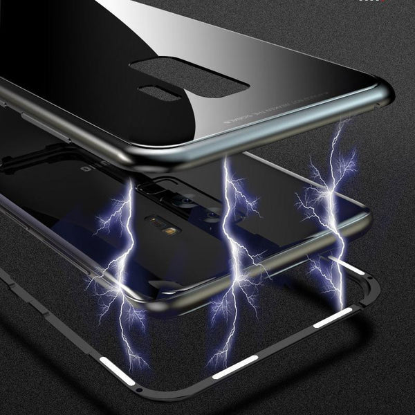MAGNETISCH ANTI-SHOCK FLIP CASE VAN GEHARD GLAS - SAMSUNG S7/8/9 + Edge en Note Plus Zwart / Galaxy Note 8 Korting