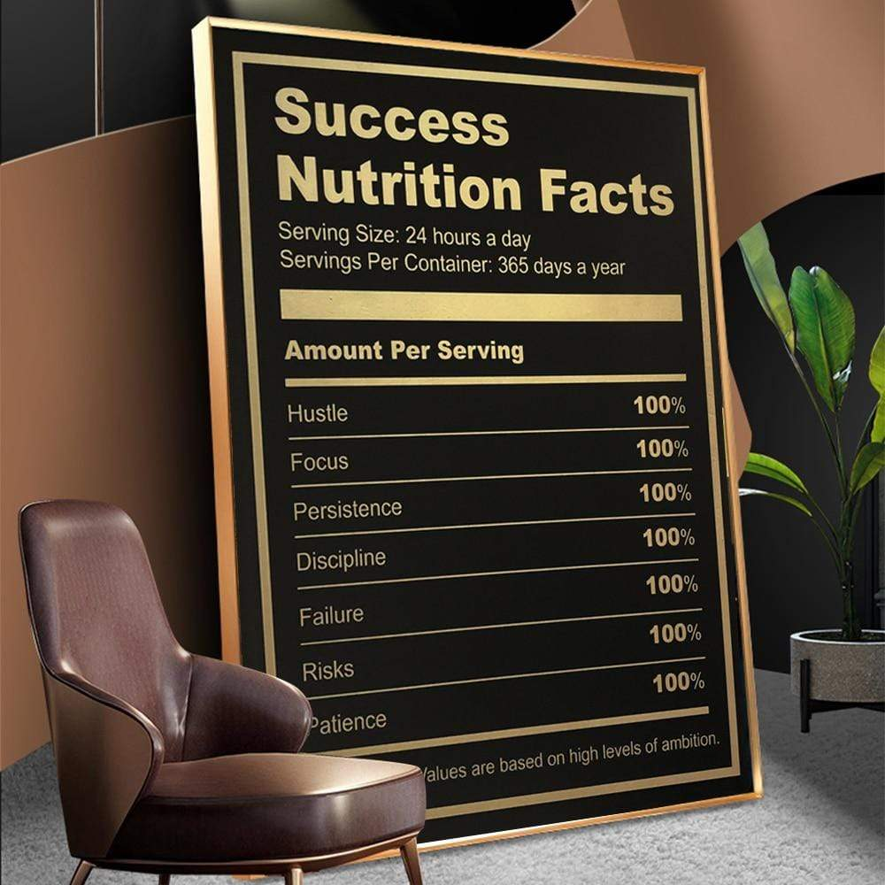 Mindset Success Nutrition Facts in Canvasposter Korting