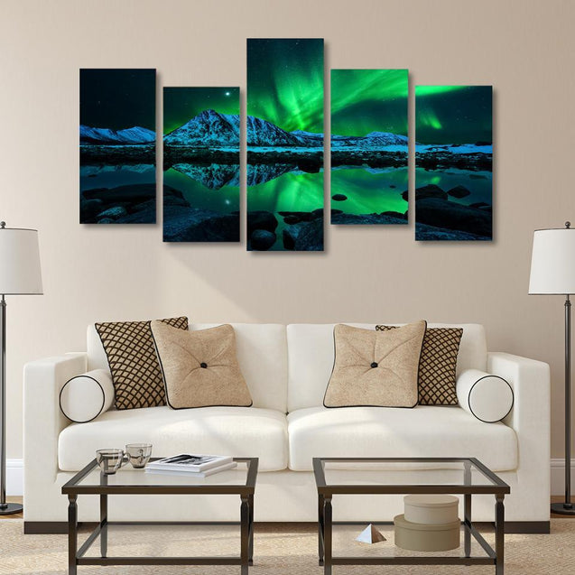 NORTHERN LIGHT CANVASDOEK - 5 DELEN Klein Korting