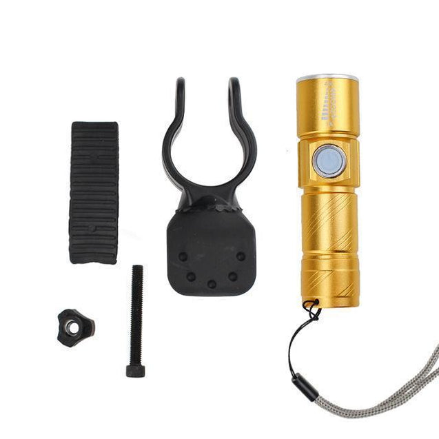 Oplaadbare USB LED Zaklamp - Herlaadbare Flashlight - Goud Korting