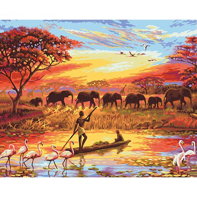 Poster Olieverf Set - Olifant in zonsondergang Korting