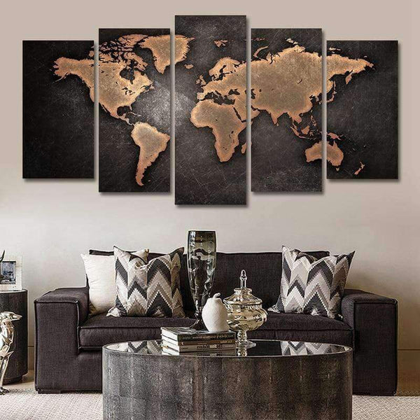 WereldKaart/Map In Canvasdoek - 5 Delen Korting