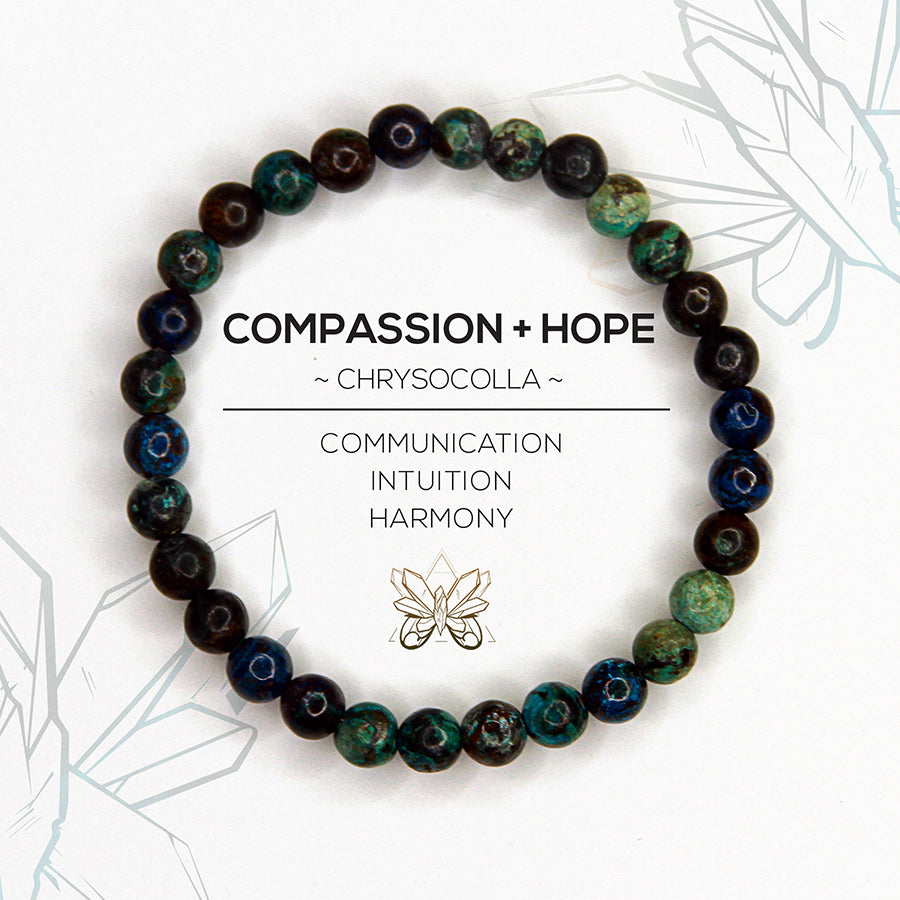 """COMPASSION + HOPE"" - HEART CHAKRA BRACELET - Crystalline Tribe"
