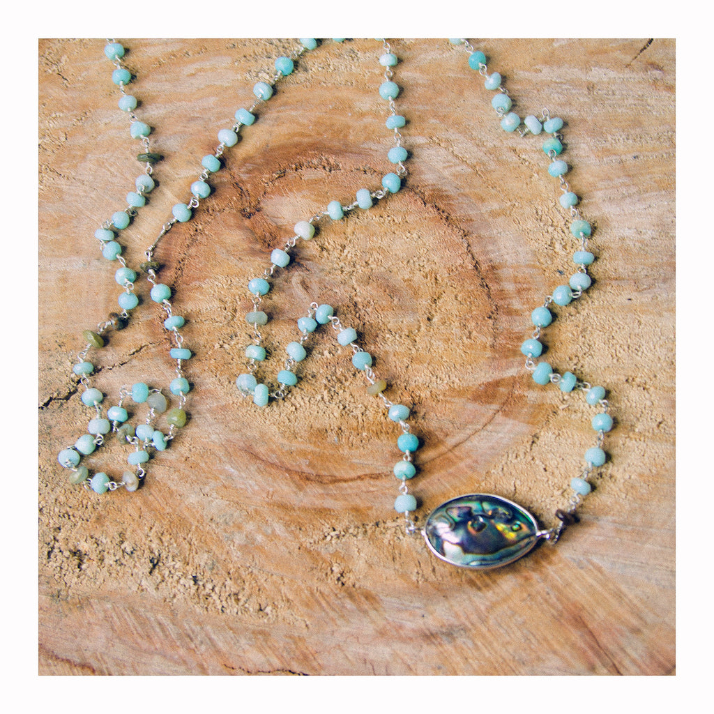 Abalone Shell + Peruvian Opal Rosary Necklace - Crystalline Tribe
