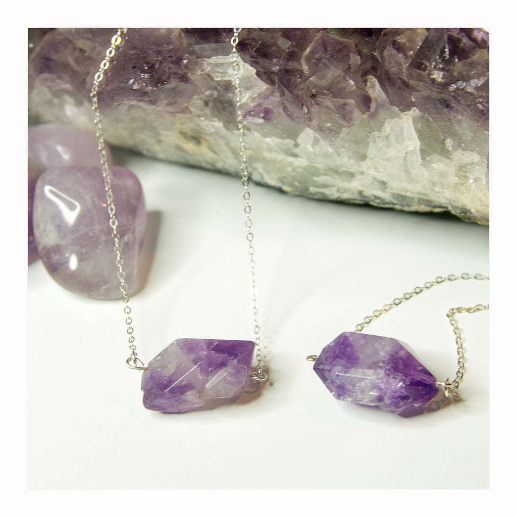 Amethyst Bar Necklace - Crystalline Tribe