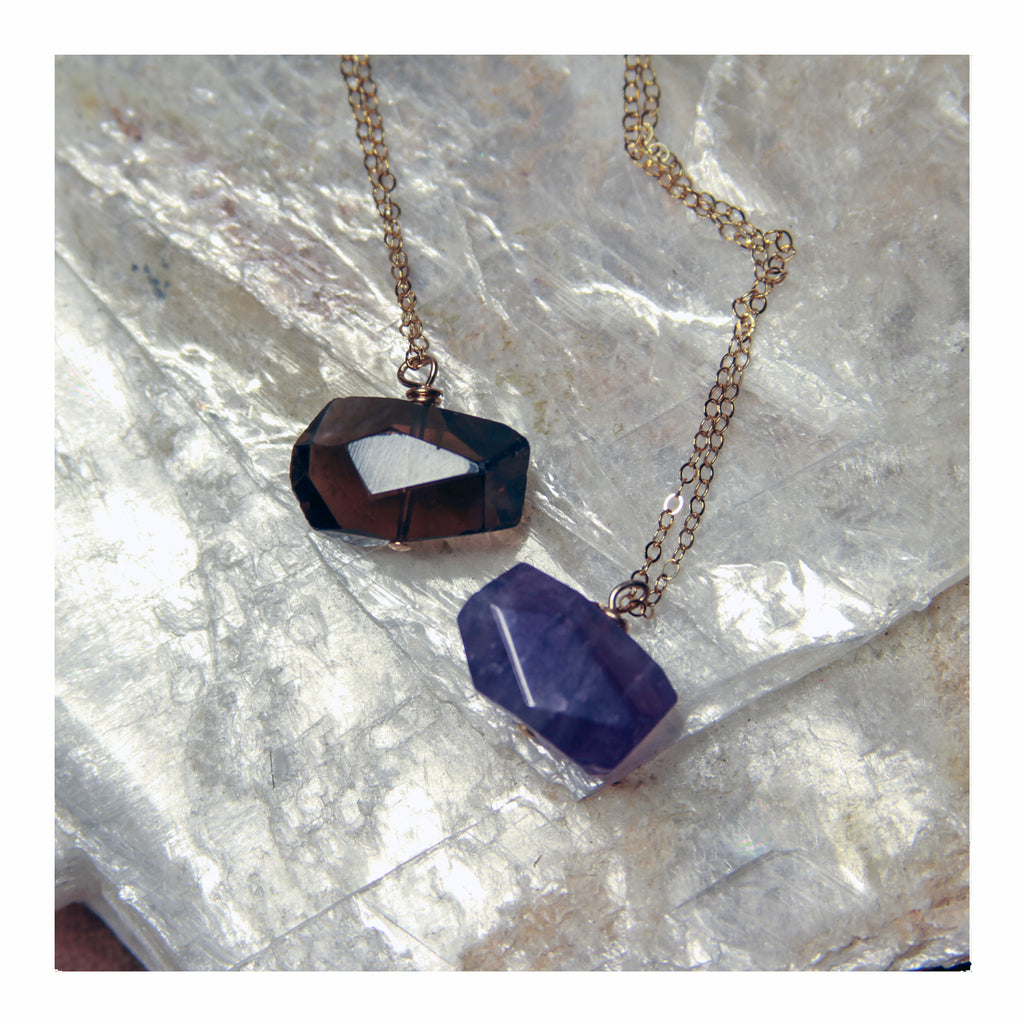Amethyst + Smoky Quartz Gold Drop Necklace - Crystalline Tribe
