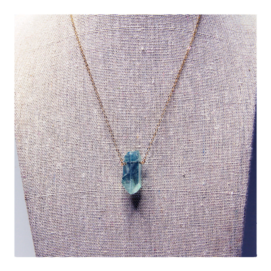 Aqua Aura Quartz Necklace - Crystalline Tribe