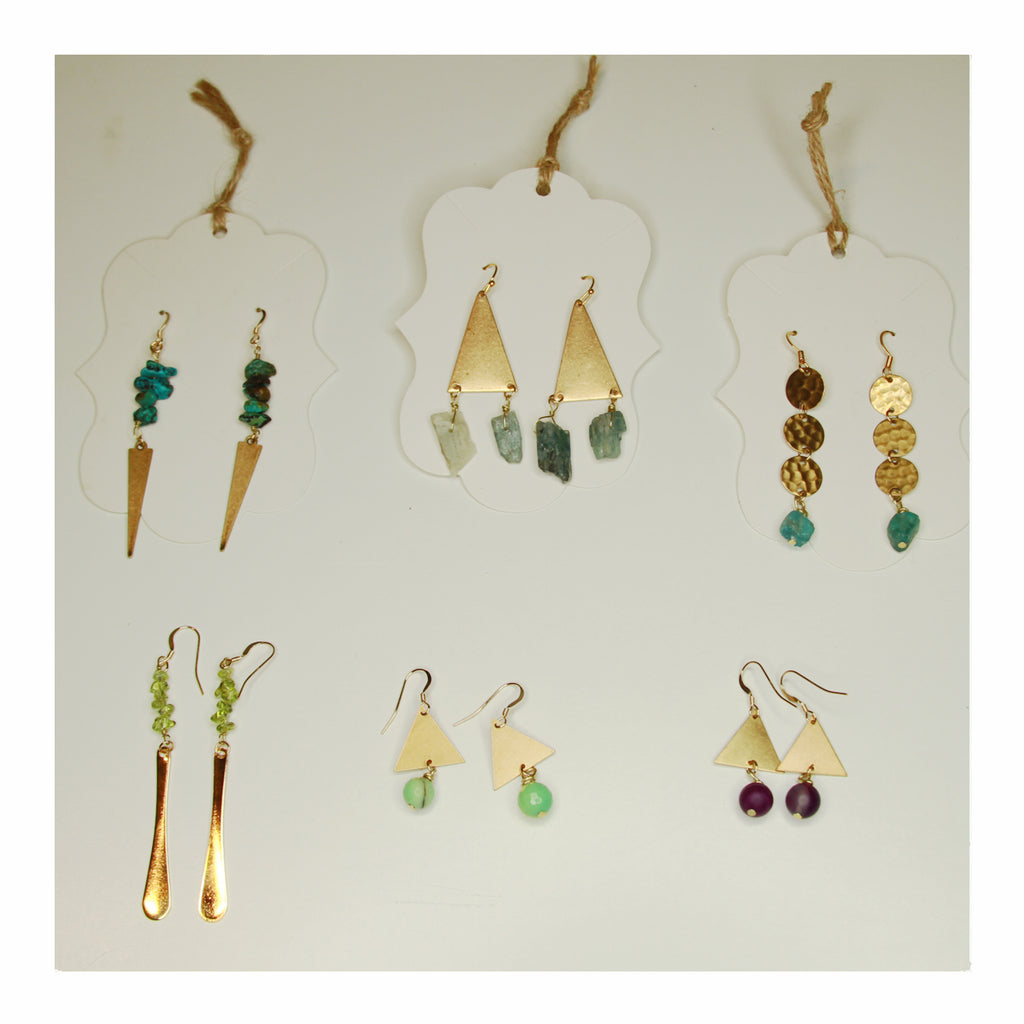 Gold Boho Drop Earrings - Crystalline Tribe