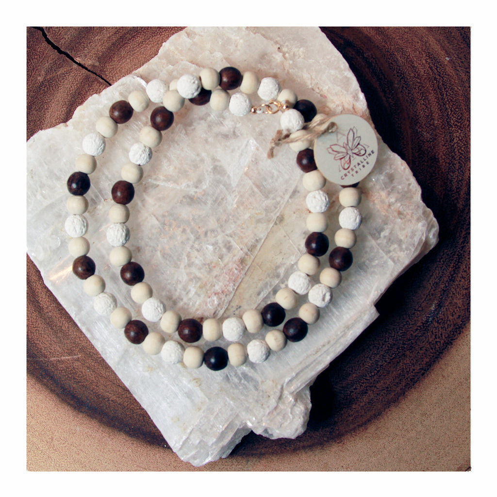 Lava and Sandalwood Necklace - Crystalline Tribe