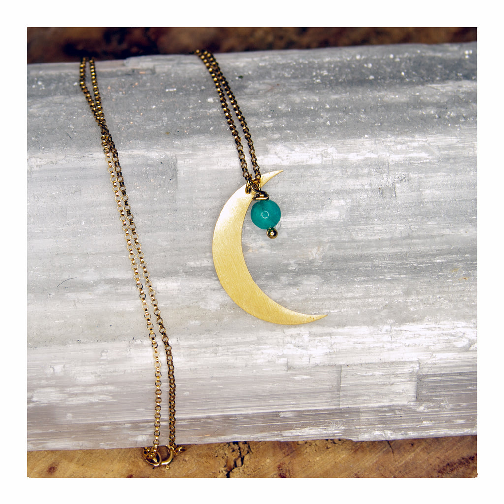 Moon + Aquarmarine Necklace - Crystalline Tribe