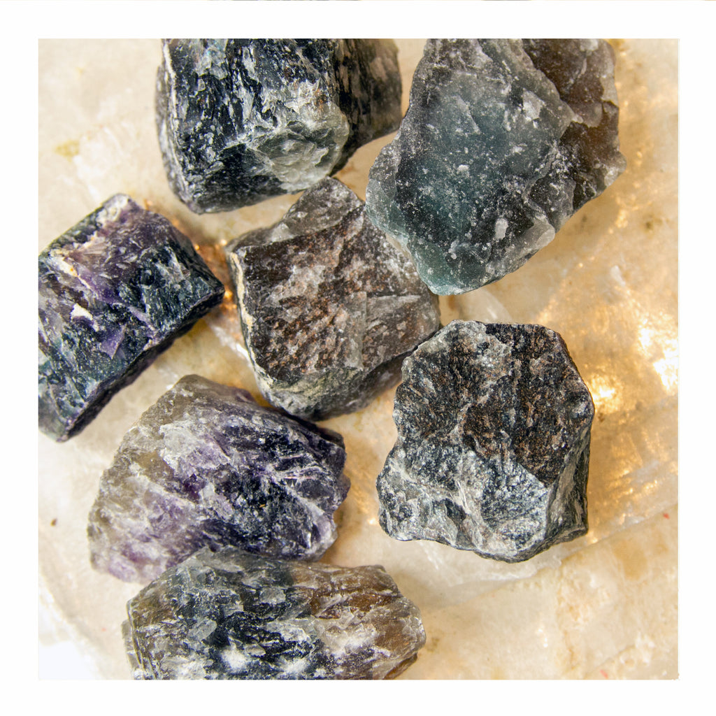 Purple Fluorite Chunks - Crystalline Tribe