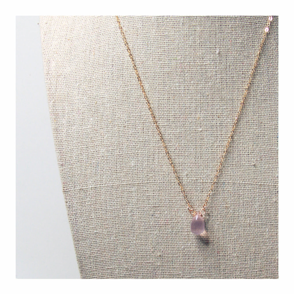 Rose Quartz Tear Drop Necklace - Crystalline Tribe