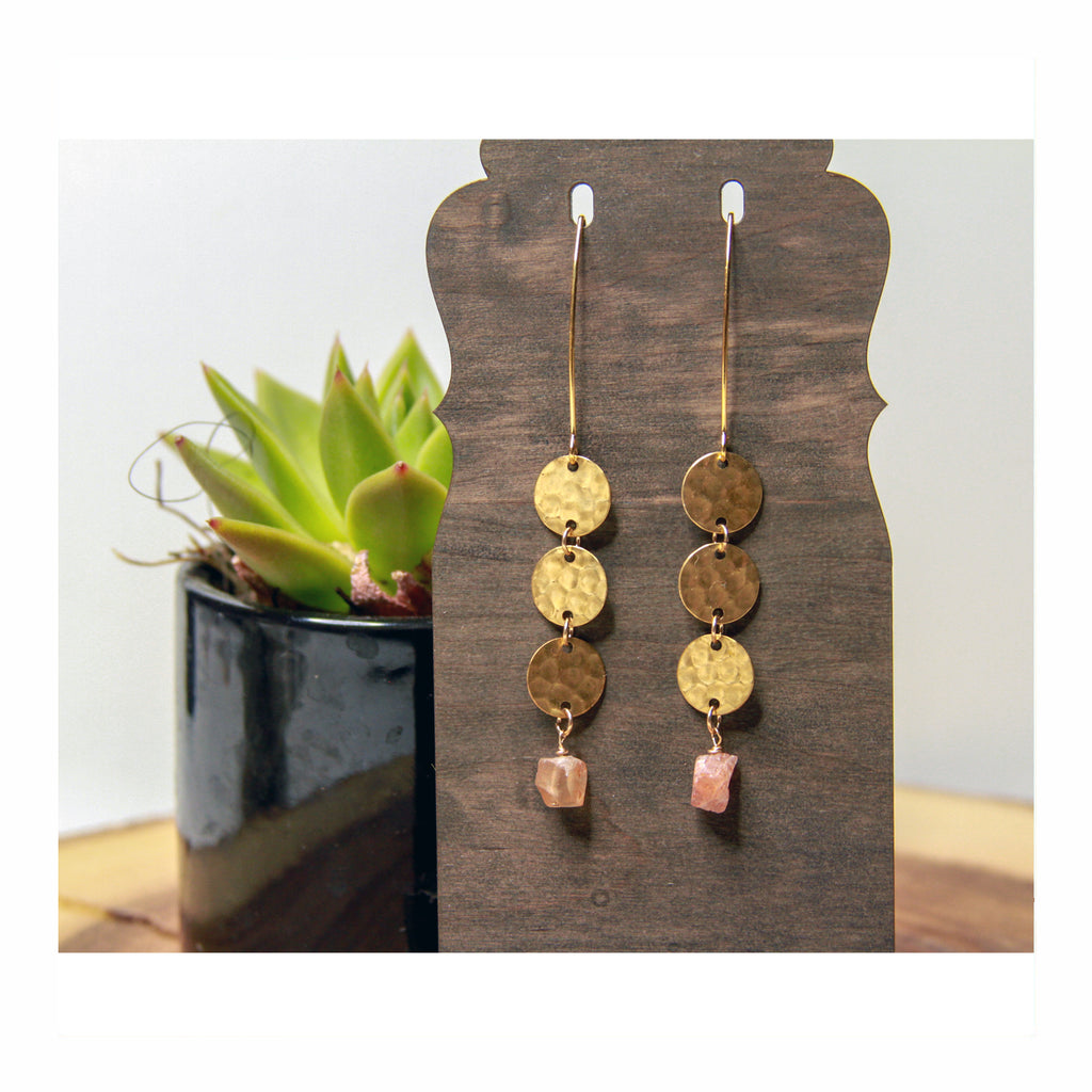 Sunstone Disc Earring