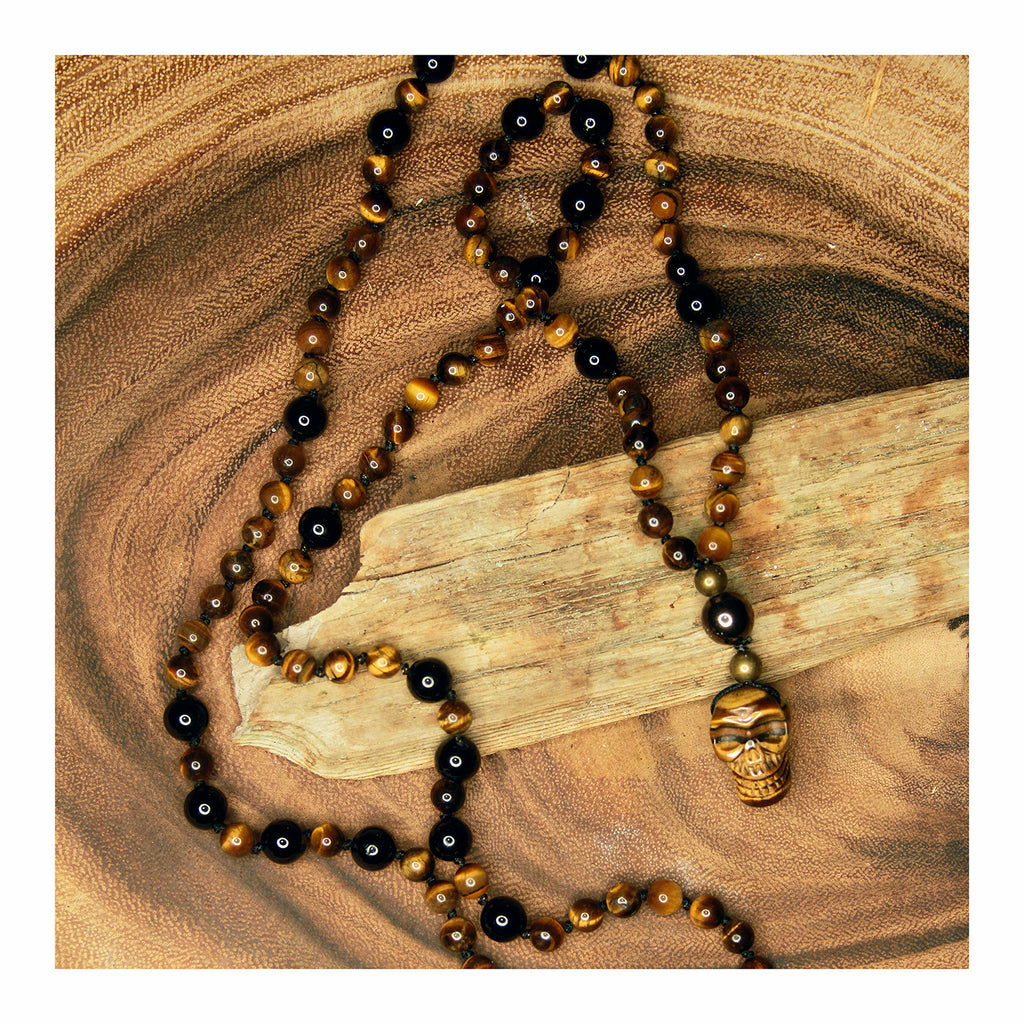 """Protector"" Tiger's Eye + Black Obsidian Mala - Crystalline Tribe"