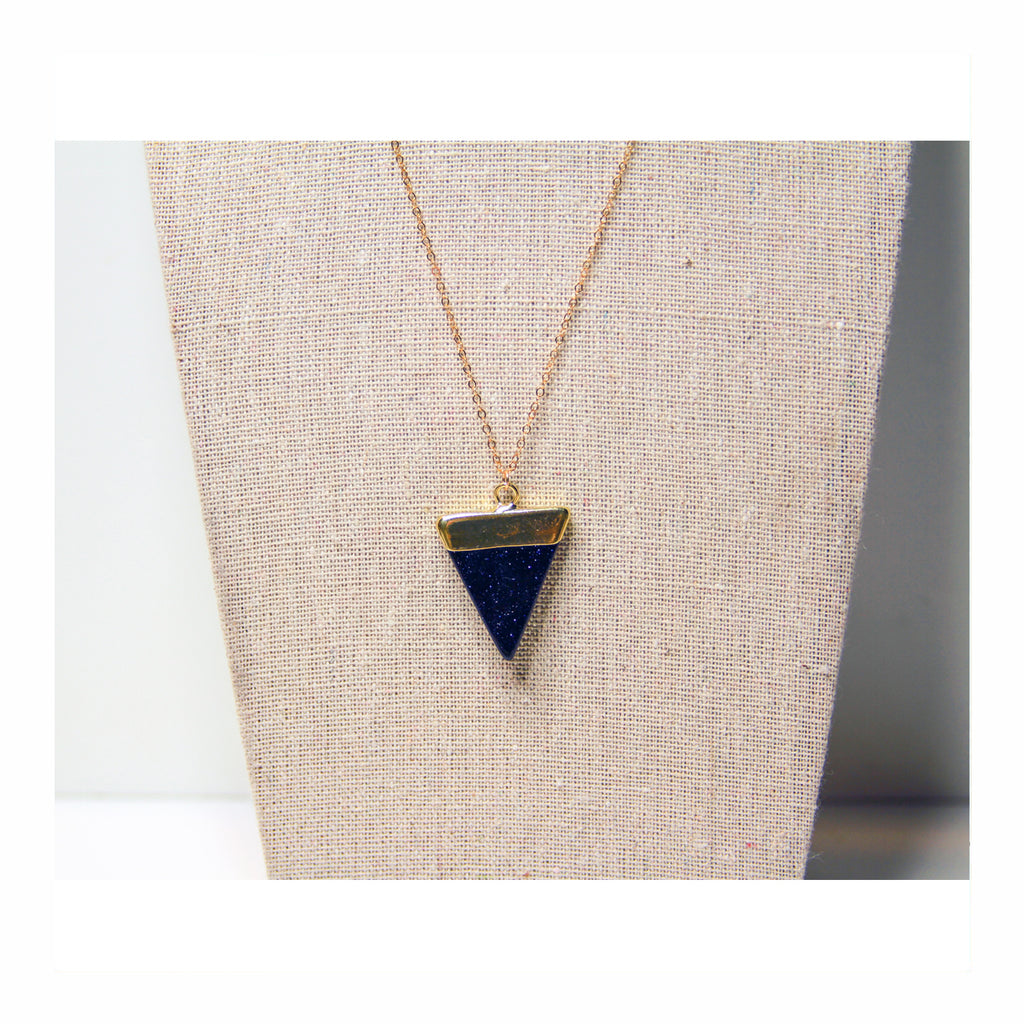 Blue Goldstone Triangle Necklace