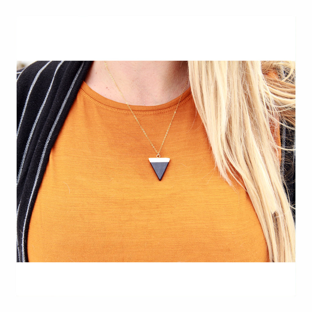 Blue Goldstone Triangle Necklace - Crystalline Tribe