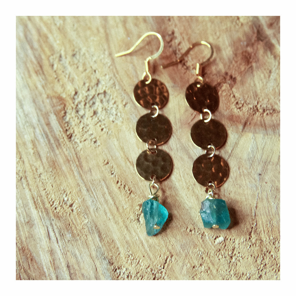 Blue Apatite Disc Earring - Crystalline Tribe