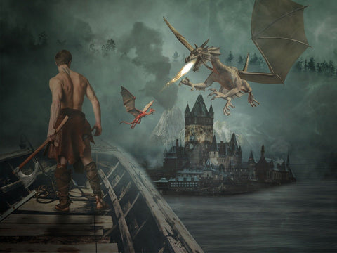 Man in boat sees dragon over castle