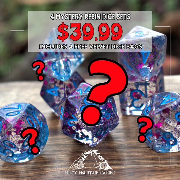 4 MYSTERY RESIN DICE SETS