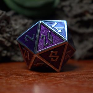 Purple & Gold Enamel Coated Metal Dice Set