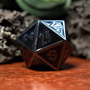 Orange & Bronze Enamel Coated Metal Dice Set
