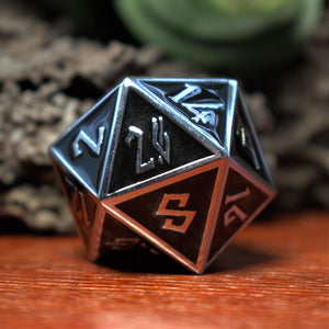 DUAL BLACK AND WHITE METAL DICE SET