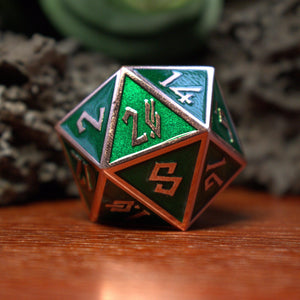DRAGON'S SCALE- GREEN AND BRONZE METAL DICE SET