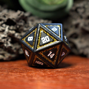 CLERIC'S DOMAIN GREEN AND MATTE SILVER METAL DICE SET