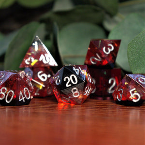 RED AND BLUE ENAMEL METAL DICE SET