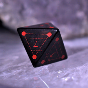 CLANGGEDIN'S BATTLE GEAR- RED AND IRIDESCENT METAL DICE SET