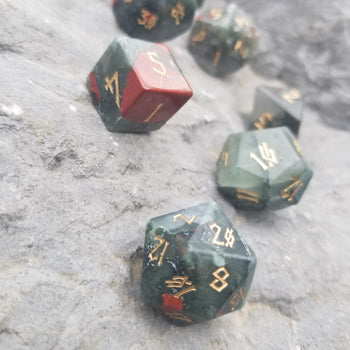 AFRICAN BLOODSTONE STONE DICE SET